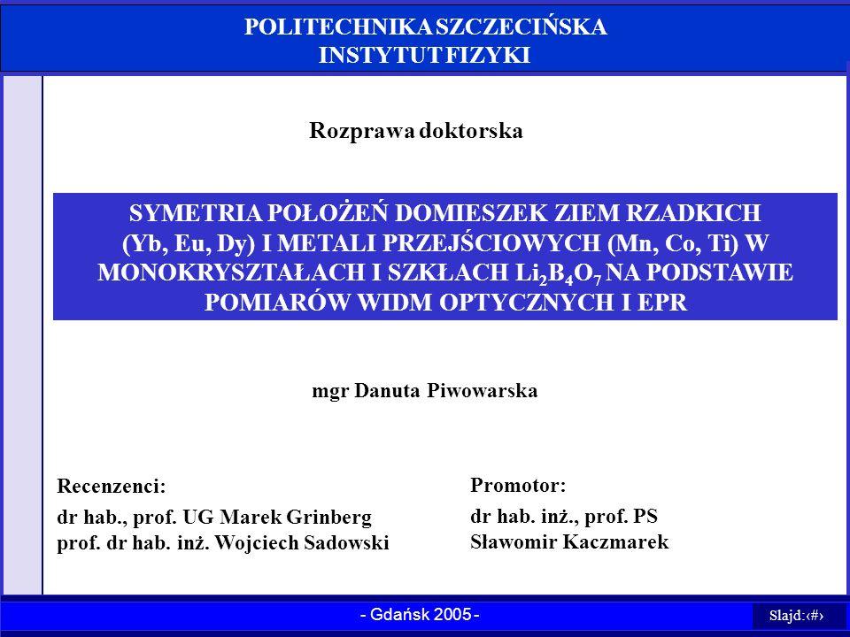 POLITECHNIKA SZCZECIŃSKA INSTYTUT FIZYKI