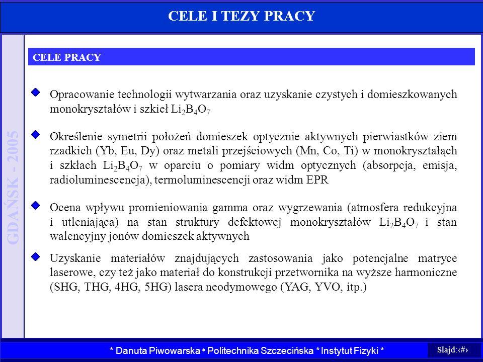 CELE I TEZY PRACY CELE PRACY. Opracowanie technologii wytwarzania oraz uzyskanie czystych i domieszkowanych monokryształów i szkieł Li2B4O7.