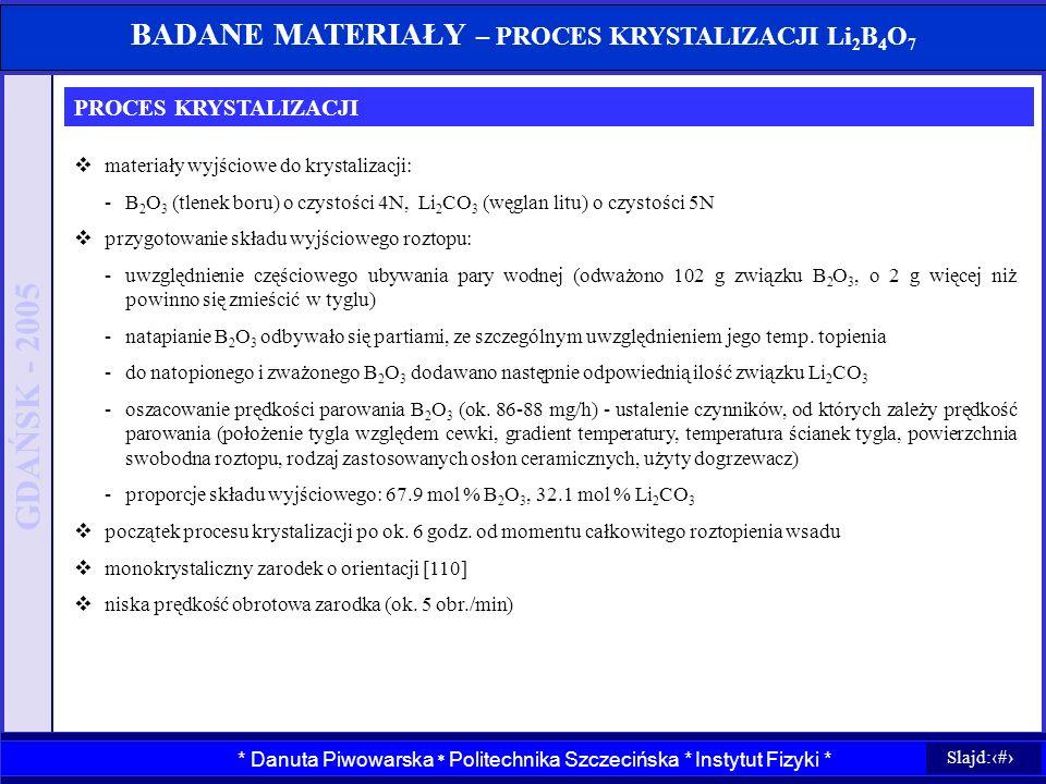 BADANE MATERIAŁY – PROCES KRYSTALIZACJI Li2B4O7
