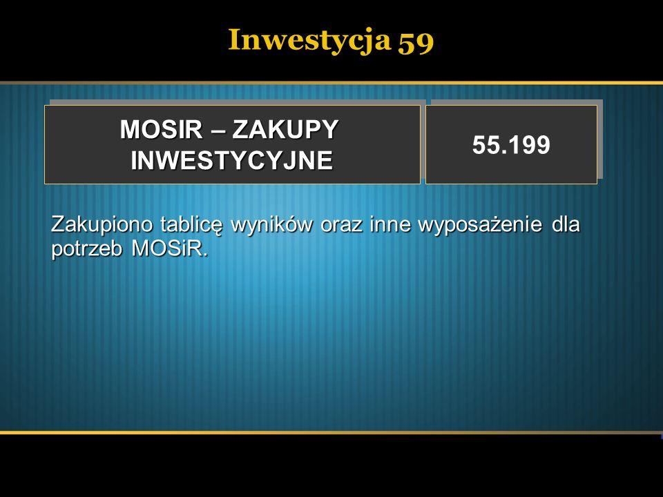 Inwestycja 59 MOSIR – ZAKUPY 55.199 INWESTYCYJNE