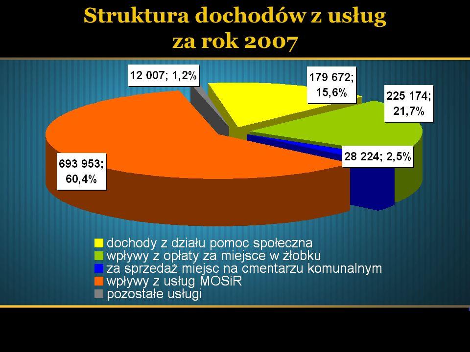 Struktura dochodów z usług za rok 2007