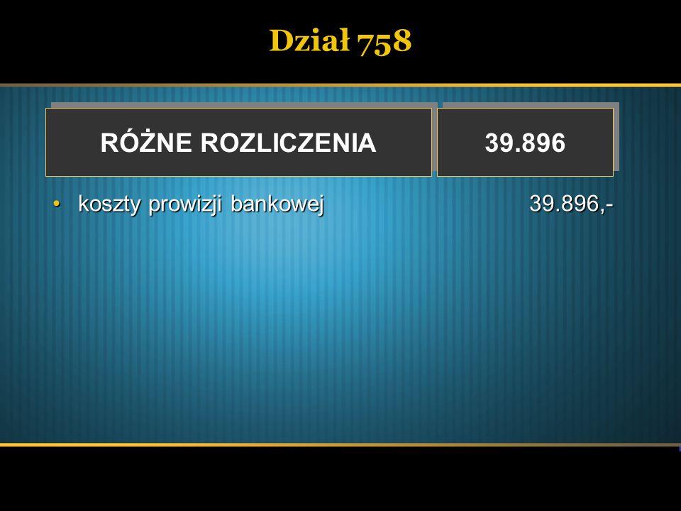 Dział 758 RÓŻNE ROZLICZENIA 39.896 koszty prowizji bankowej 39.896,-