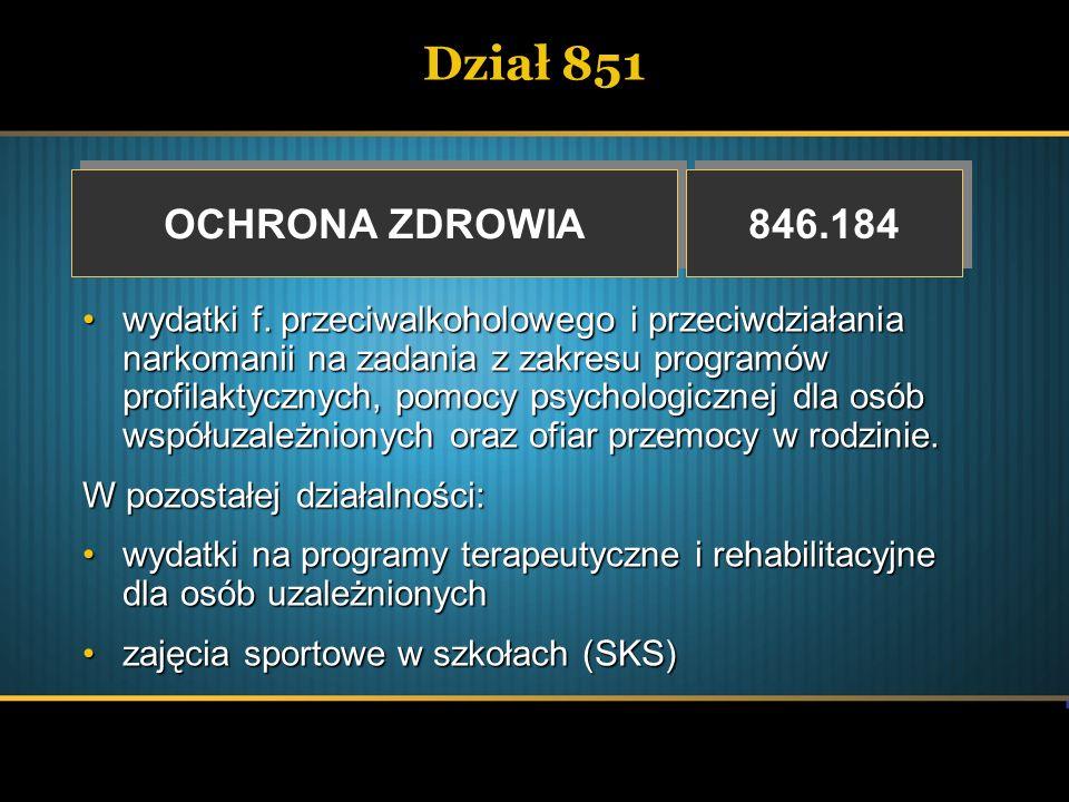 Dział 851 OCHRONA ZDROWIA. 846.184.