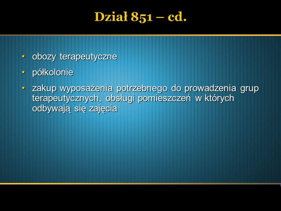 Dział 851 – cd. obozy terapeutyczne półkolonie