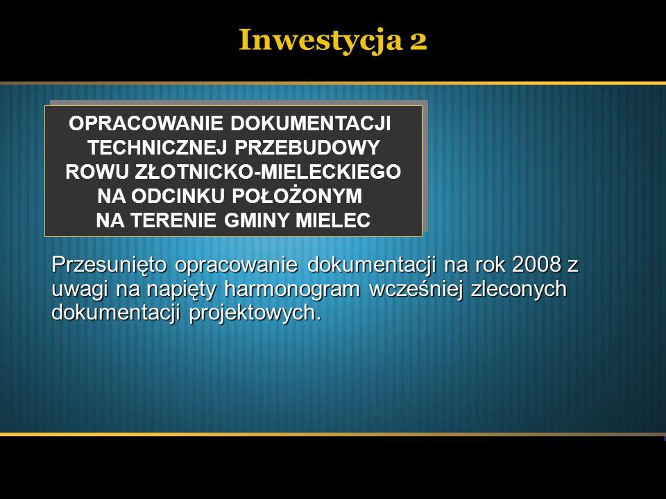 Inwestycja 2 OPRACOWANIE DOKUMENTACJI. TECHNICZNEJ PRZEBUDOWY. ROWU ZŁOTNICKO-MIELECKIEGO. NA ODCINKU POŁOŻONYM.
