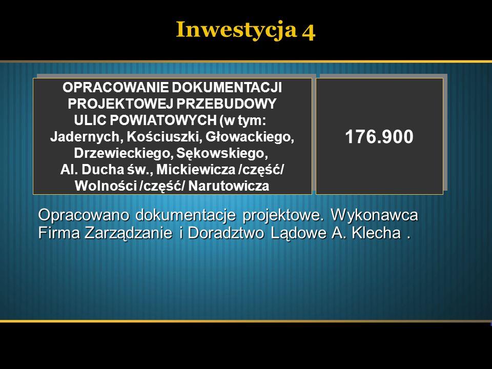 Inwestycja 4 OPRACOWANIE DOKUMENTACJI. PROJEKTOWEJ PRZEBUDOWY. ULIC POWIATOWYCH (w tym: Jadernych, Kościuszki, Głowackiego,