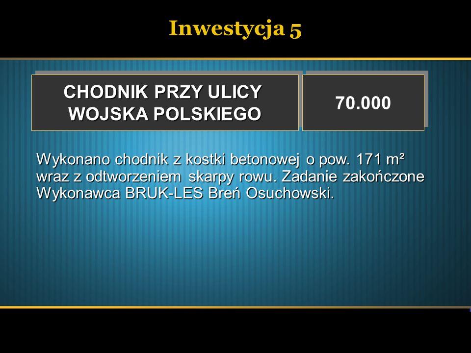 Inwestycja 5 CHODNIK PRZY ULICY 70.000 WOJSKA POLSKIEGO