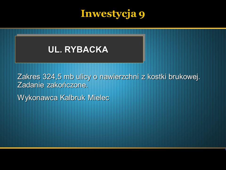 Inwestycja 9 UL. RYBACKA. Zakres 324,5 mb ulicy o nawierzchni z kostki brukowej. Zadanie zakończone.