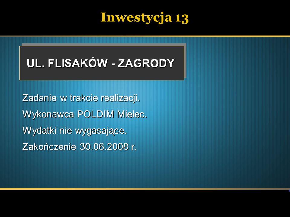 Inwestycja 13 UL. FLISAKÓW - ZAGRODY Zadanie w trakcie realizacji.