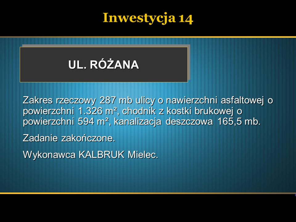 Inwestycja 14 UL. RÓŻANA.