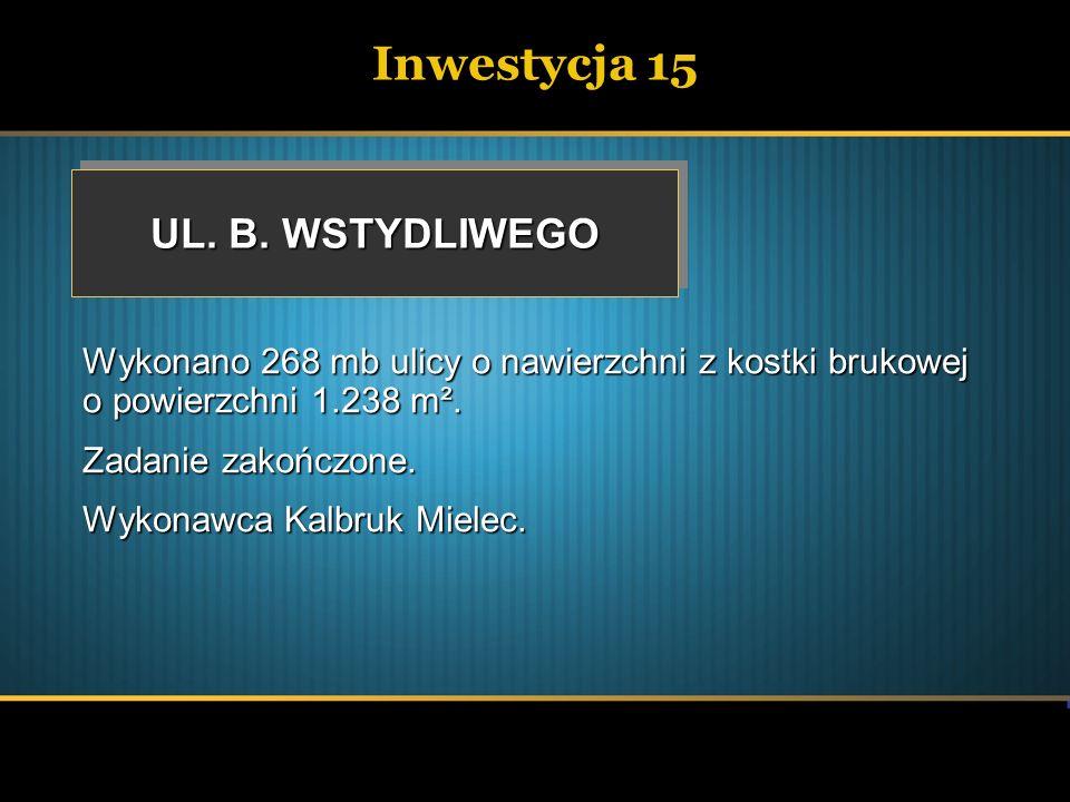 Inwestycja 15 UL. B. WSTYDLIWEGO