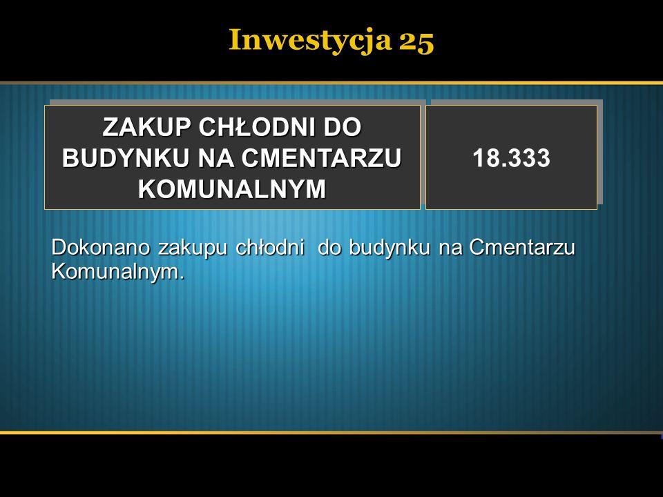 Inwestycja 25 ZAKUP CHŁODNI DO BUDYNKU NA CMENTARZU KOMUNALNYM 18.333