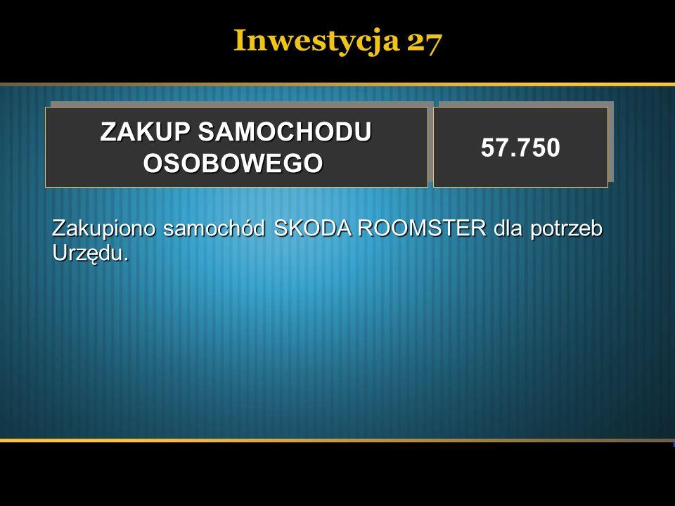 Inwestycja 27 ZAKUP SAMOCHODU 57.750 OSOBOWEGO