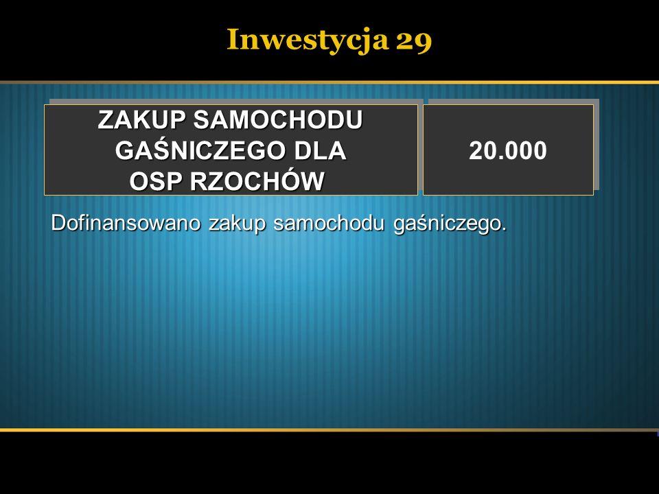 Inwestycja 29 ZAKUP SAMOCHODU GAŚNICZEGO DLA OSP RZOCHÓW 20.000