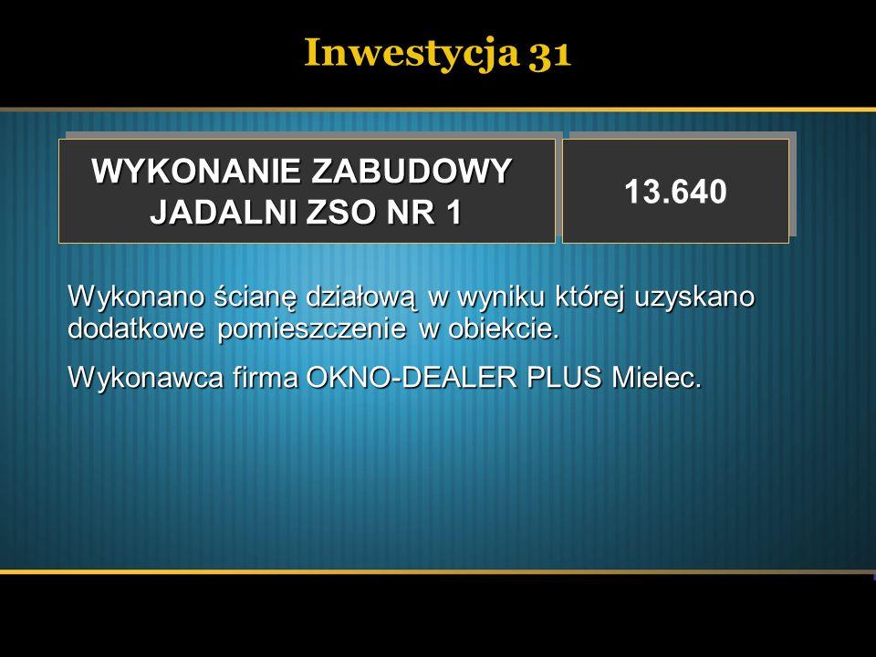 Inwestycja 31 WYKONANIE ZABUDOWY 13.640 JADALNI ZSO NR 1