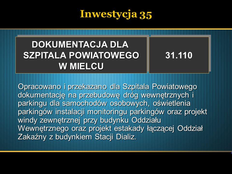 Inwestycja 35 DOKUMENTACJA DLA SZPITALA POWIATOWEGO W MIELCU 31.110