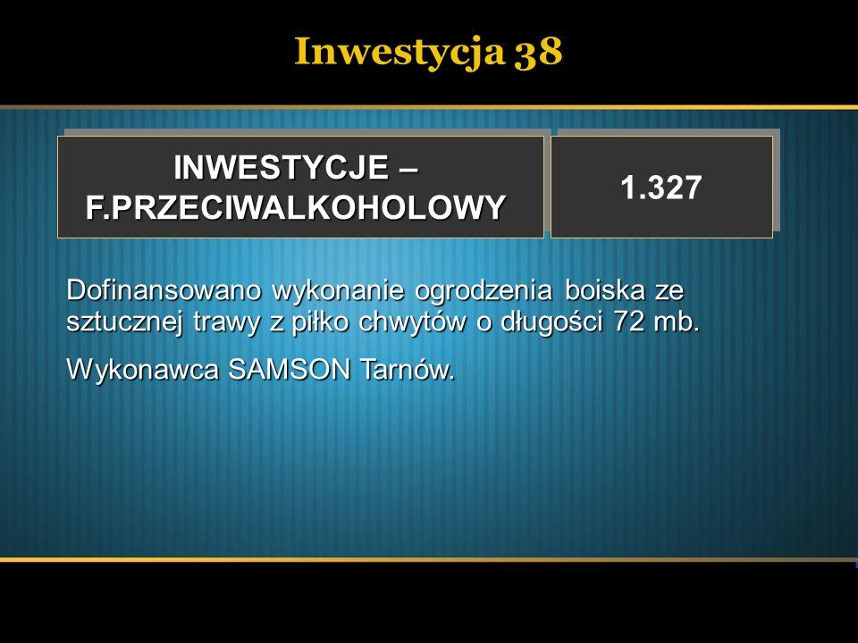 Inwestycja 38 INWESTYCJE – 1.327 F.PRZECIWALKOHOLOWY
