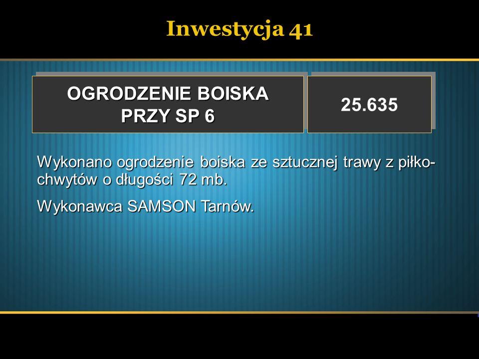 Inwestycja 41 OGRODZENIE BOISKA 25.635 PRZY SP 6