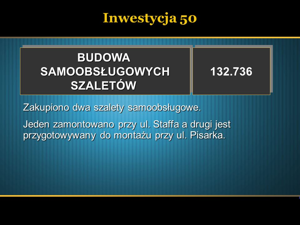 Inwestycja 50 BUDOWA SAMOOBSŁUGOWYCH SZALETÓW 132.736