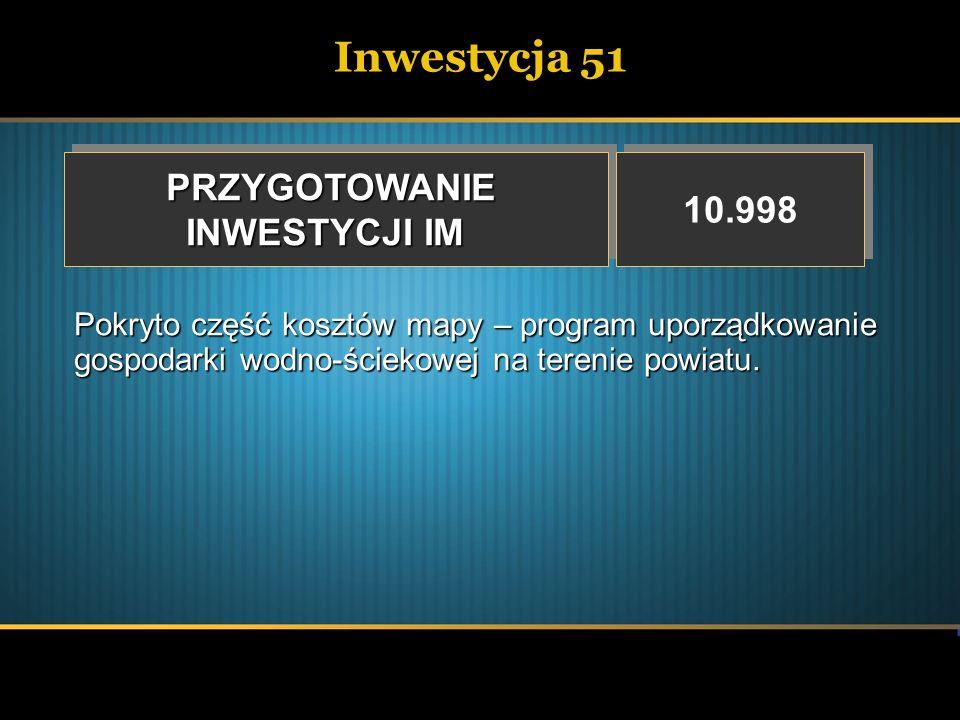 Inwestycja 51 PRZYGOTOWANIE 10.998 INWESTYCJI IM