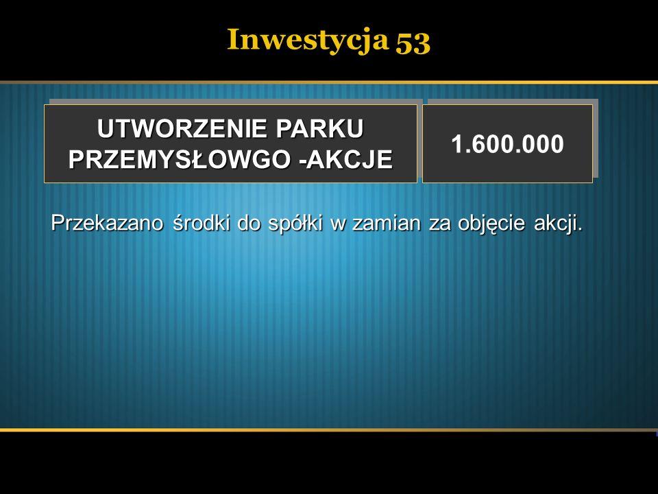 Inwestycja 53 UTWORZENIE PARKU 1.600.000 PRZEMYSŁOWGO -AKCJE