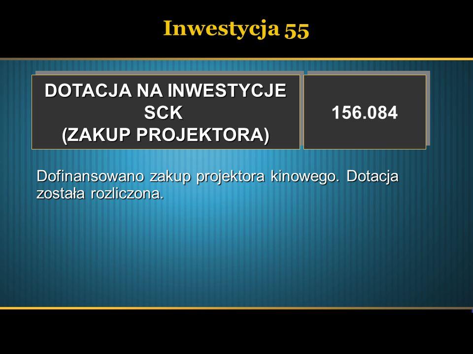 Inwestycja 55 DOTACJA NA INWESTYCJE SCK (ZAKUP PROJEKTORA) 156.084