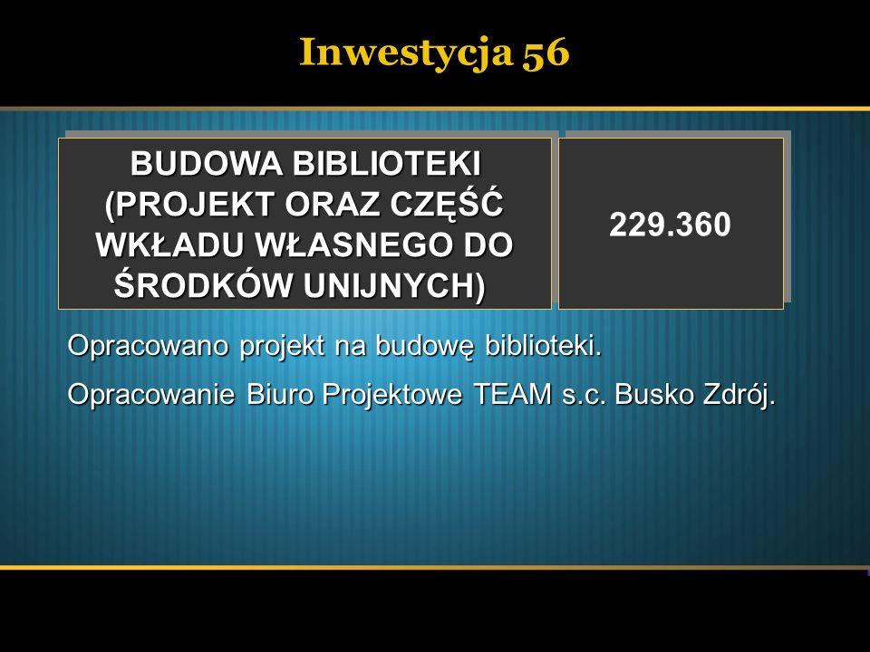 Inwestycja 56 BUDOWA BIBLIOTEKI (PROJEKT ORAZ CZĘŚĆ 229.360