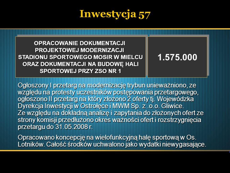 Inwestycja 57 OPRACOWANIE DOKUMENTACJI. PROJEKTOWEJ MODERNIZACJI. STADIONU SPORTOWEGO MOSIR W MIELCU.