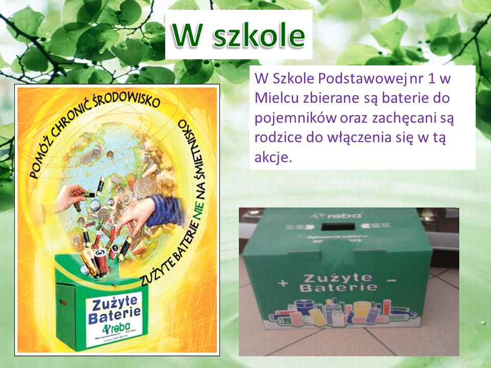W szkole W Szkole Podstawowej nr 1 w Mielcu zbierane są baterie do pojemników oraz zachęcani są rodzice do włączenia się w tą akcje.