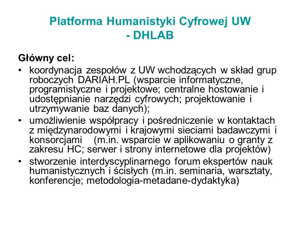 Platforma Humanistyki Cyfrowej UW - DHLAB