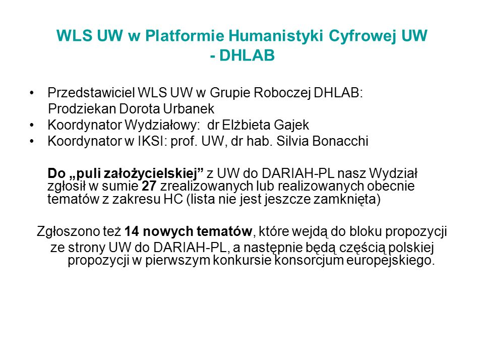 WLS UW w Platformie Humanistyki Cyfrowej UW - DHLAB