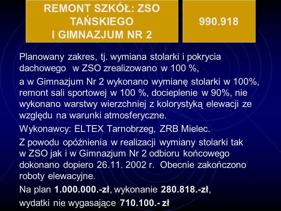 REMONT SZKÓŁ: ZSO TAŃSKIEGO I GIMNAZJUM NR 2 990.918