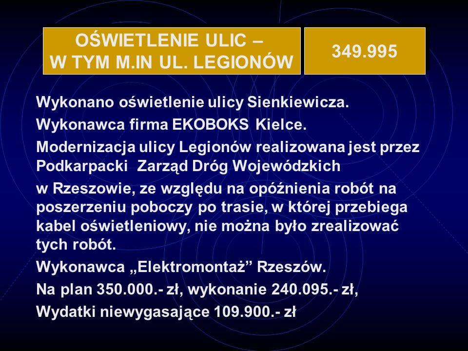 OŚWIETLENIE ULIC – W TYM M.IN UL. LEGIONÓW 349.995