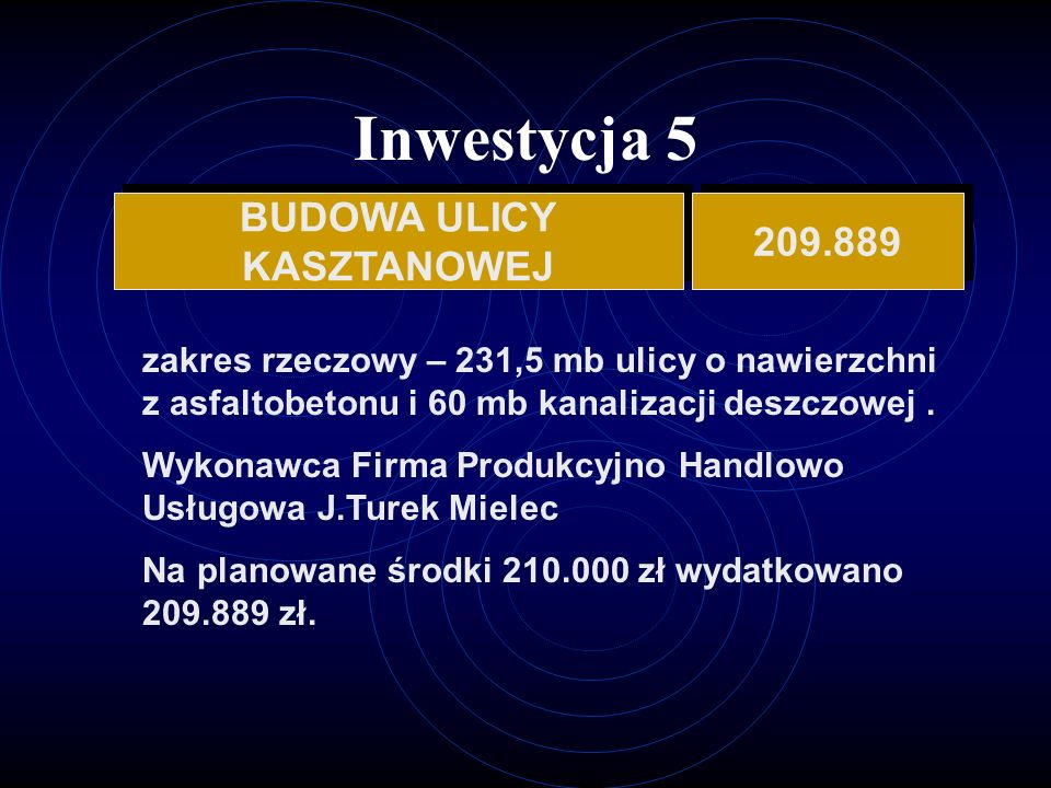 Inwestycja 5 BUDOWA ULICY 209.889 KASZTANOWEJ