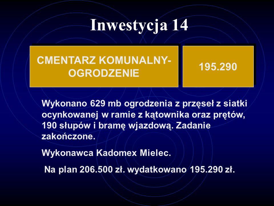Inwestycja 14 CMENTARZ KOMUNALNY- 195.290 OGRODZENIE