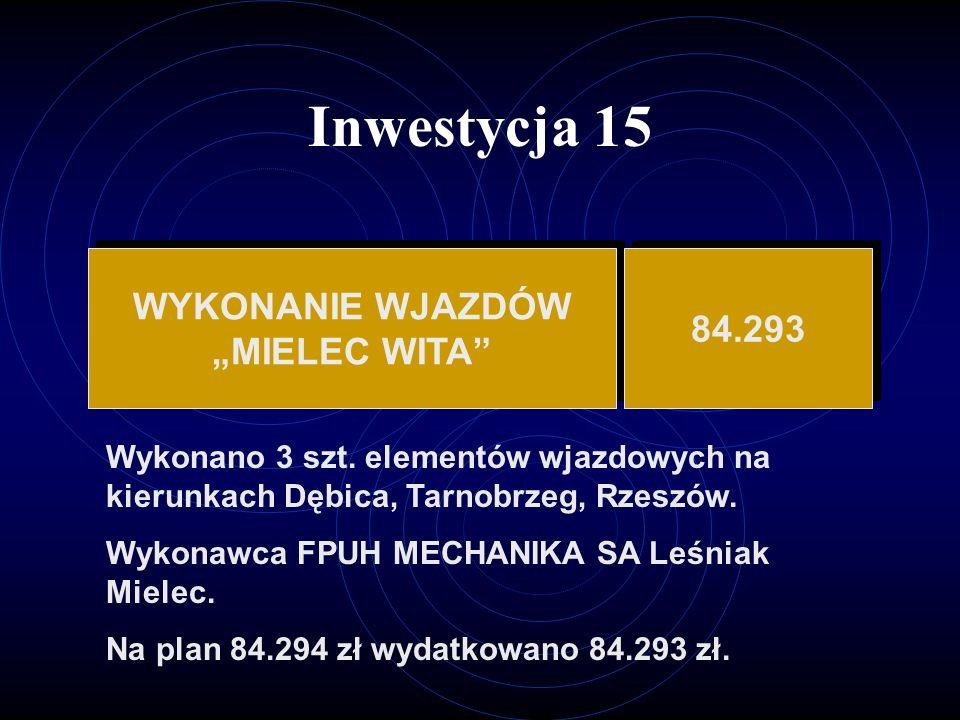 """Inwestycja 15 WYKONANIE WJAZDÓW 84.293 """"MIELEC WITA"""
