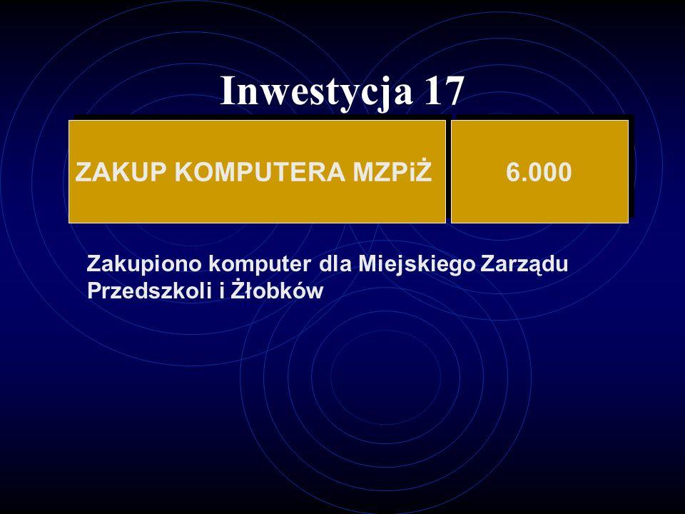 Inwestycja 17 ZAKUP KOMPUTERA MZPiŻ 6.000
