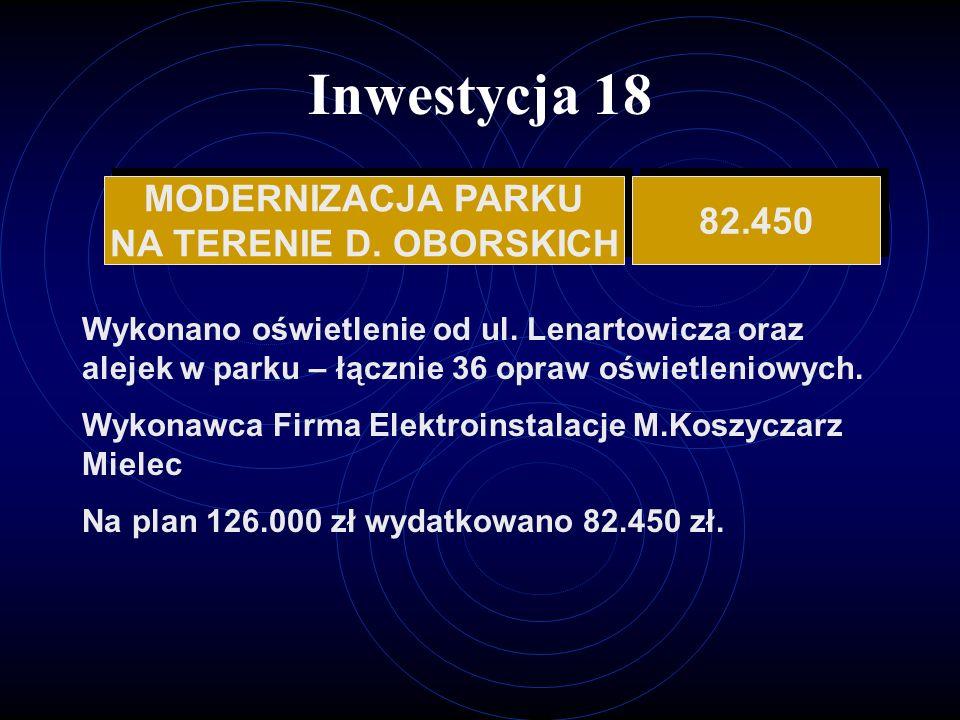 Inwestycja 18 MODERNIZACJA PARKU 82.450 NA TERENIE D. OBORSKICH