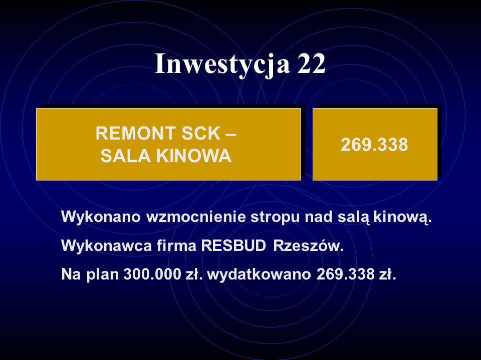 Inwestycja 22 REMONT SCK – 269.338 SALA KINOWA