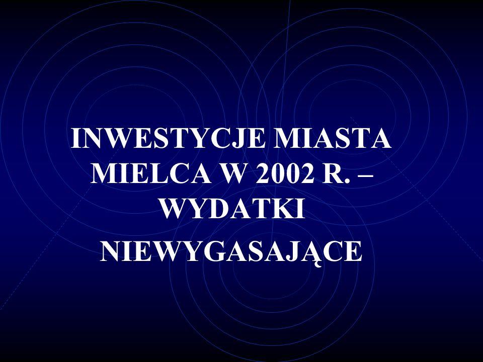 INWESTYCJE MIASTA MIELCA W 2002 R. –WYDATKI NIEWYGASAJĄCE