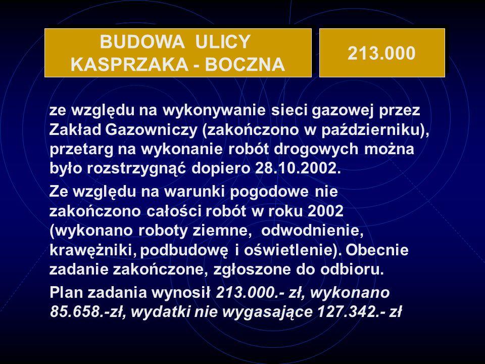 BUDOWA ULICY KASPRZAKA - BOCZNA 213.000