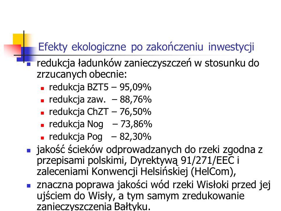 Efekty ekologiczne po zakończeniu inwestycji