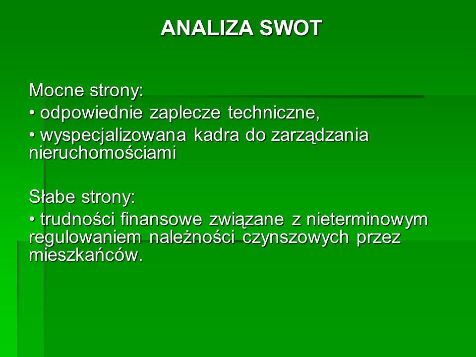 ANALIZA SWOT Mocne strony: • odpowiednie zaplecze techniczne,