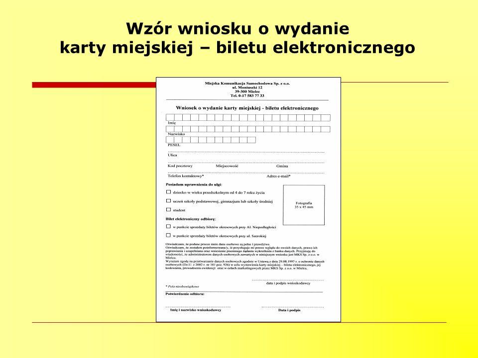Wzór wniosku o wydanie karty miejskiej – biletu elektronicznego