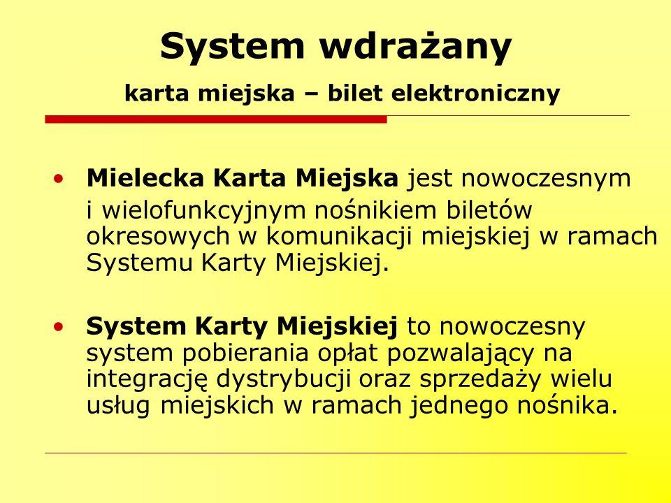 System wdrażany karta miejska – bilet elektroniczny