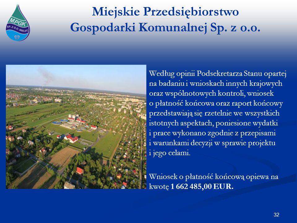 Wniosek o płatność końcową opiewa na kwotę 1 662 485,00 EUR.