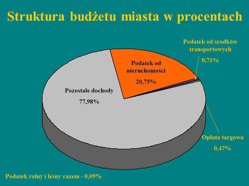 Struktura budżetu miasta w procentach