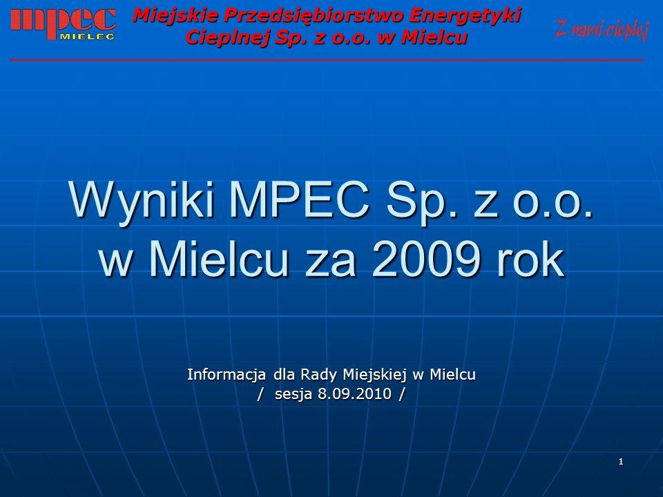 Wyniki MPEC Sp. z o.o. w Mielcu za 2009 rok