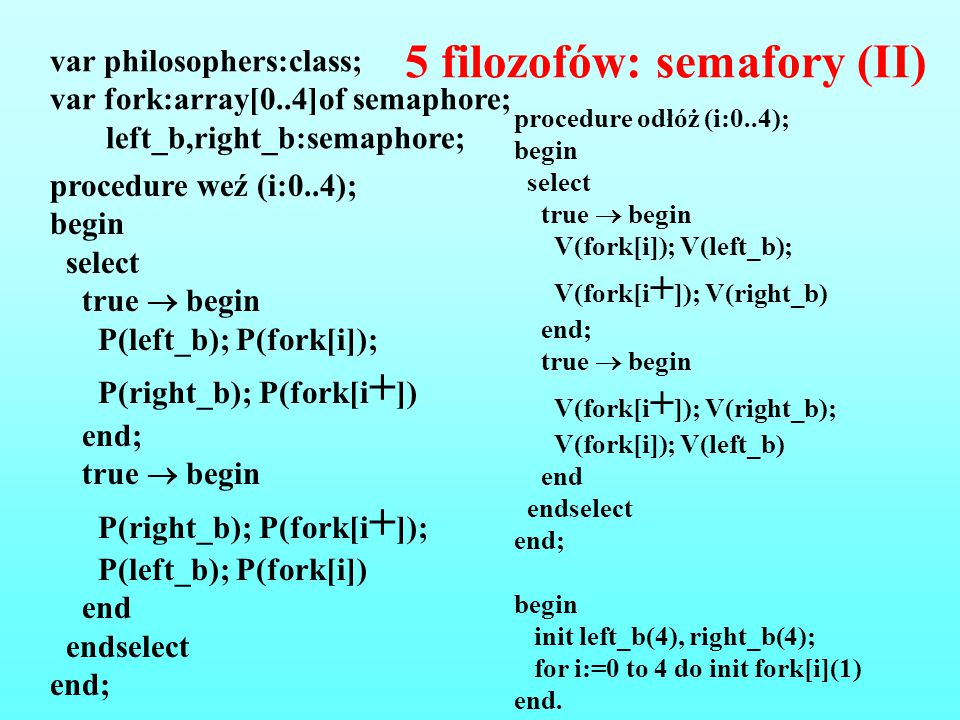 5 filozofów: semafory (II)