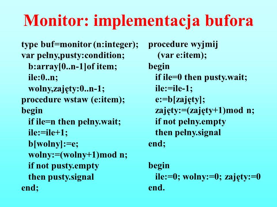 Monitor: implementacja bufora